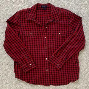 Chaps Button Up Shirt, Red + Black, Size XL
